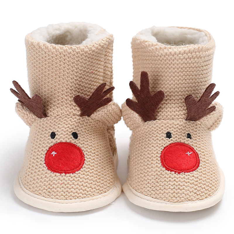 Winter Male Baby 0-1 Christmas Plus Velvet Warm Soft Bottom Non-slip Baby Toddler Shoes