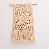 Bohemian Hand-woven Cotton Rope Lace Wall Hanging Hand Woven Basket For Home Decoration Supplies