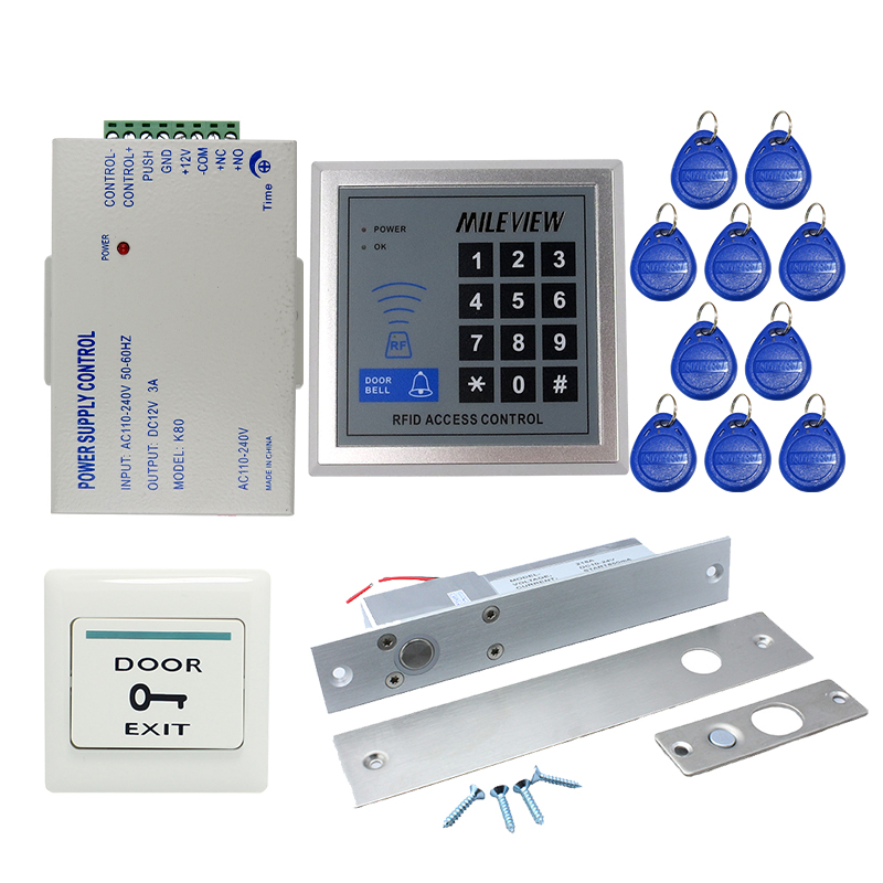 Free Shipping Brand NEW Rfid Door Access Control System Set + Electronic Drop Bolt Door Lock +Rfid Keypad + Exit Button IN STOCK free shipping bosi brand new 50pc mechanics tool set china top ten brand