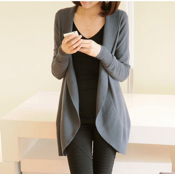 8 COLORS New 2016 autumn winter fashion Women long sleeve Knitted Sweater  Cardigans - Popular Womens Shawl Collar Cardigan-Buy Cheap Womens Shawl Collar