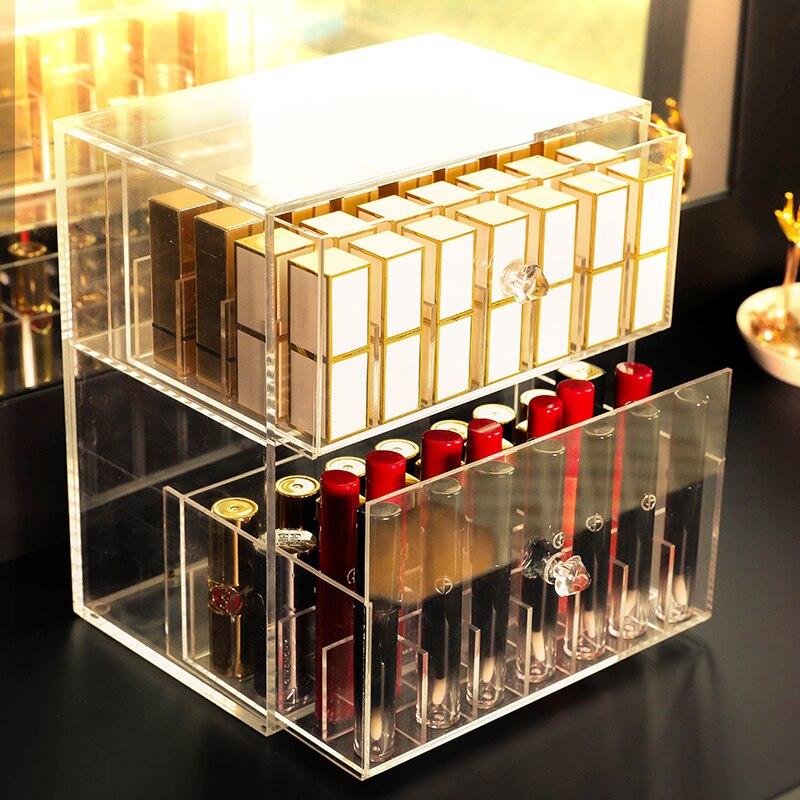 56 grille deux couches tiroir étui de rouge à lèvres résistant à la poussière Transparent acrylique maquillage organisateur boîte de rangement en plastique
