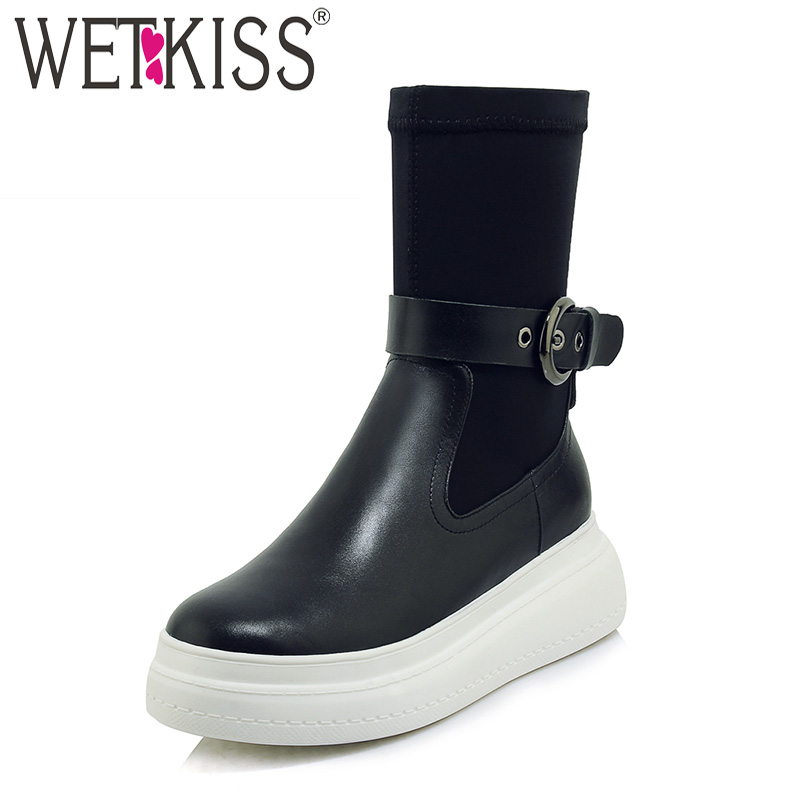 WETKISS Leather Women Ankle Boots Round Toe Footwear Fashion Stretch Lycra Female Short Boot Platform Shoes Woman 2018 Winter women ankle boots handmade genuine leather woman boots autumn winter round toe soft comfotable retro boot shoes female footwear