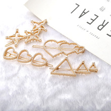 4Pcs/Set Korea Ins Fashion Women Alloy Creative Triangle Frog Clip Hair Accessories Girls Lady Simulation Pearl Hairpin Headwear