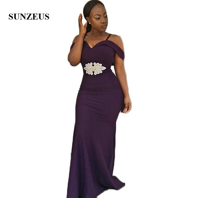 Purple African Bridesmaid Dresses Long Sweetheart Spaghetti Straps