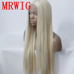 Image 2 - MRWIG long straight26in #613 middle part synthetic heat resistant fiber transparent lace synthetic fiber front lace wig
