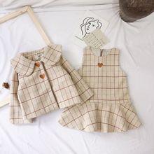 Корейский осенне-зимний милый шерстяной жилет из ткани жилет для маленьких девочек комплекты с платьем комплекты из 2 предметов Детский костюм в клетку