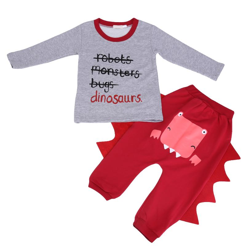 2pcs/set Autumn Baby Clothes Set Infant Boy Letter Printed Long Sleeve Sweatshirt Leisure Pants Cartoon Dinosaur Kids Outfit Set