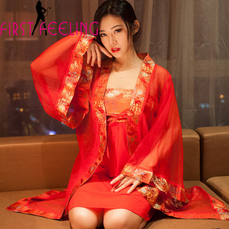 Fantasia Vintage China Style Bride Clothes Hot Sexy Red -6077