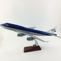 FREE SHIPPING 45 47CM 747 KLM METAL BASE AND RESIN MODEL PLANE AIRCRAFT MODEL TOY AIRPLANE BIRTHDAY GIFT