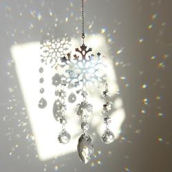 H & d cristal do floco de neve suncatcher janela pendurado ornamento arco-íris prismas sun catcher coleção para casa jardim decoração casamento