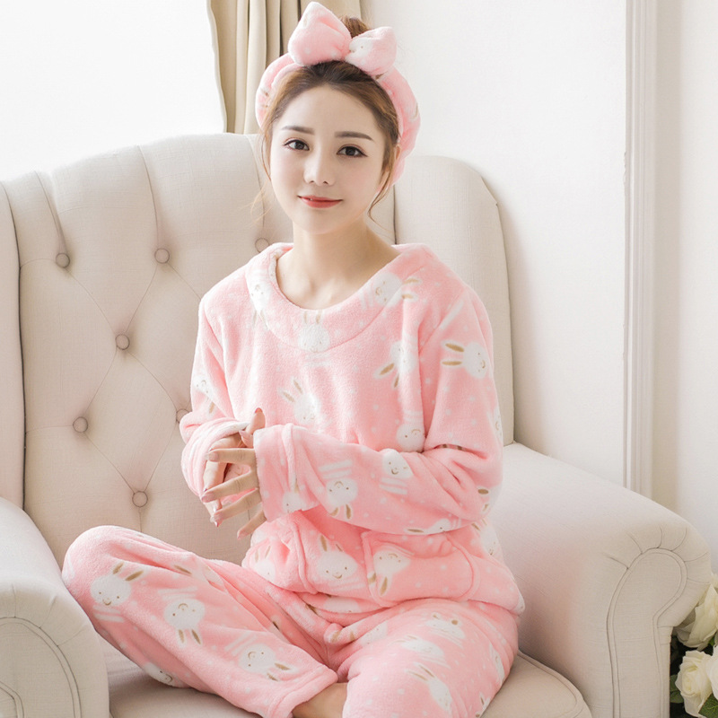 cabebf99e7 Dropwow Women s Pyjamas Sets Flannel Thick Warm Coral Velvet Suit Women  Sleepwear 2018 New Winter Female Cartoon Kawaii Casual Homewear