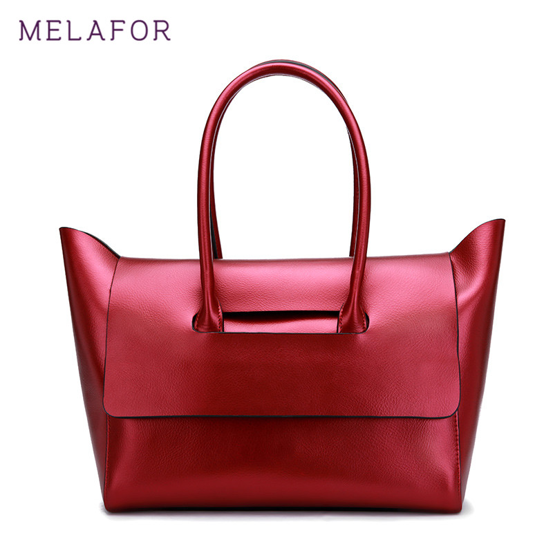 MELAFOR New Women Totes Genuine Leather Handbag Female Bags Handbags Fashion Ladies Portable Red Black Classic Bag Tote G71190 aosbos fashion portable insulated canvas lunch bag thermal food picnic lunch bags for women kids men cooler lunch box bag tote