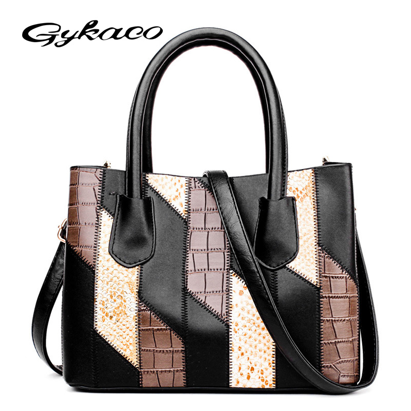 Gykaeo 2017 European Style Fashion PU Leather Tote Bag Ladies Patchwork Striped Shoulder Bags Handbags Women Famous Brands Bolsa women shoulder bags leather handbags shell crossbody bag brand design small single messenger bolsa tote sweet fashion style