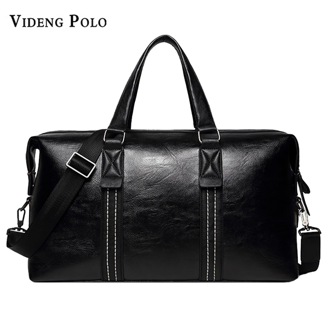 04d5ac3f07 VIDENG POLO Brand Men pu leather large Capacity Travel Bag Duffle crossbody  Short distance Messenger bag Black leisure Handbags