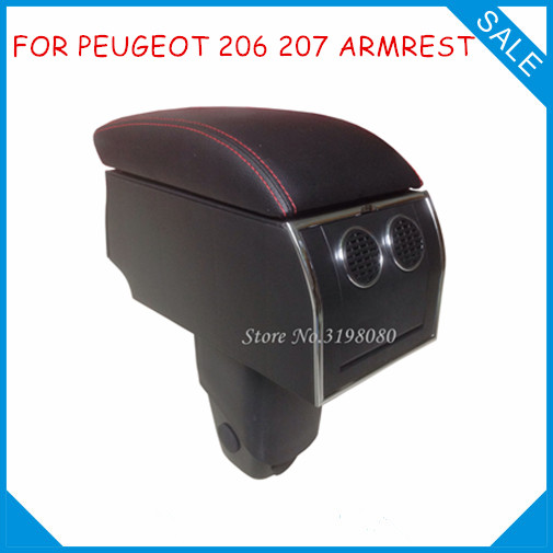 for peugeot 206 207 no drill 8pcs usb armrest car center arm rest console box with cup holder. Black Bedroom Furniture Sets. Home Design Ideas