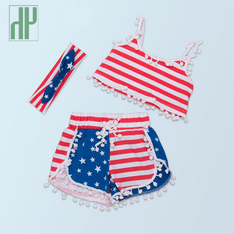 Baby girl clothes summer infant clothing american flag baby 3pcs sleeveless outfits set headband+T-shirt+shorts fourth of july