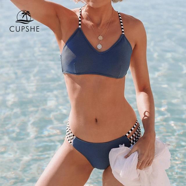 CUPSHE Marineblauw Geribbeld En Strappy Bikini Set Sexy Lace Up Badpak Twee Stukken Badmode Vrouwen 2019 Meisjes Strand Baden suits