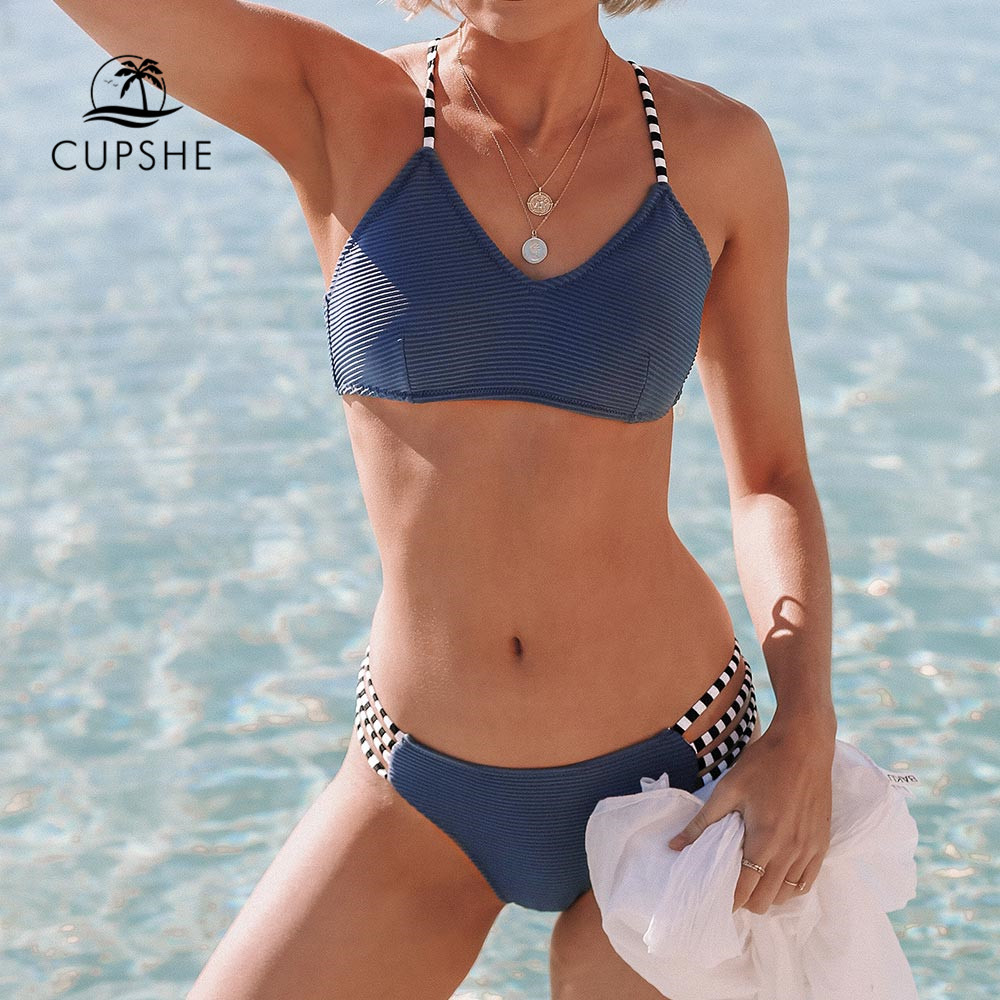 CUPSHE Navy Blue Ribbed And <font><b>Strappy</b></font> <font><b>Bikini</b></font> Set <font><b>Sexy</b></font> Lace Up Swimsuit Two Pieces Swimwear Women 2019 Girls Beach Bathing Suits image
