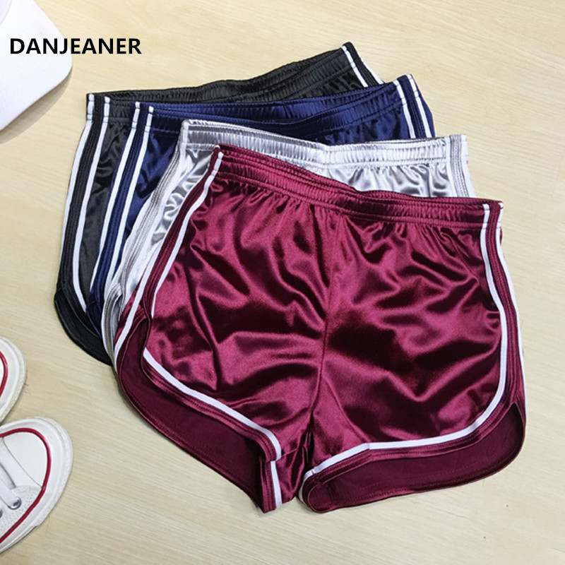 DANJEANER Sexy High Waist Summer Sports Shorts Women Fashion Casual Elastic Waist Beach Shorts White Edge Solid Short Hot Pants