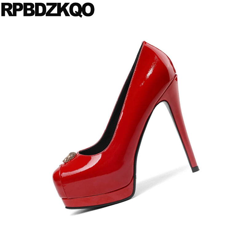 Super Européenne Rond Noir Mince Pompes Dames Bout Stripper Main Danseuse Haute Exotique Chaussures Fétiche rouge Designer Gothique Rouge Talons Extrême z4z7qYS