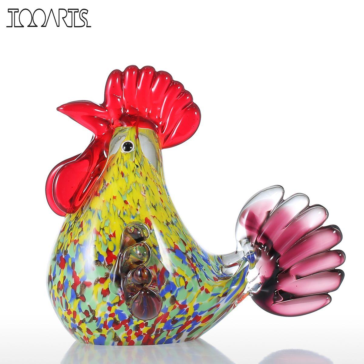 Glass animal ornaments - Tooarts Multicolor Rooster Figurine Glass Miniature Figurine Home Decor Animal Ornament Gift Glass Handicraft For Home