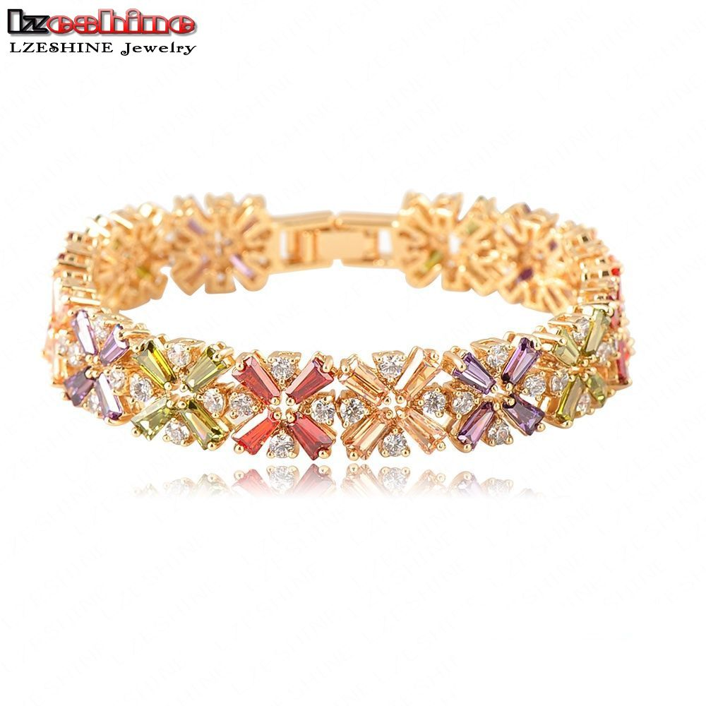 LZESHINE Brand Beautiful Charm Bracelets Radiation Shaped Flower Bracelet AAA Cubic Zirconia Female Bracelet Pulseras CBR0011-C