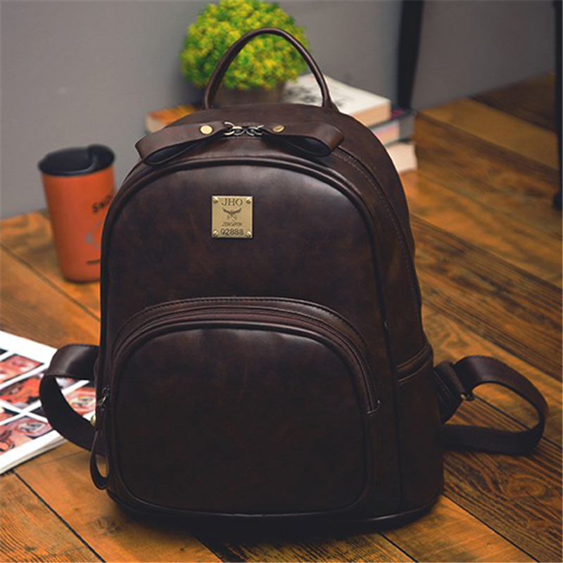 2017 Fashion Women Vintage PU Leather Small Backpacks For Bookbag Lady Backpack School College Female Girls