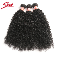 Sleek Brazilian Hair Weave Bundles Kinky Curly Bundles 8 28 30 Inch Bundles Non remy Human Hair Extension 3/4 Bundle Deals