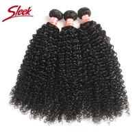 Sleek Brazilian Hair Weave Bundles Kinky Curly Bundles 8 28 30 Inch Bundles Non remy Human Hair Extension 3/4 Bundle Deals