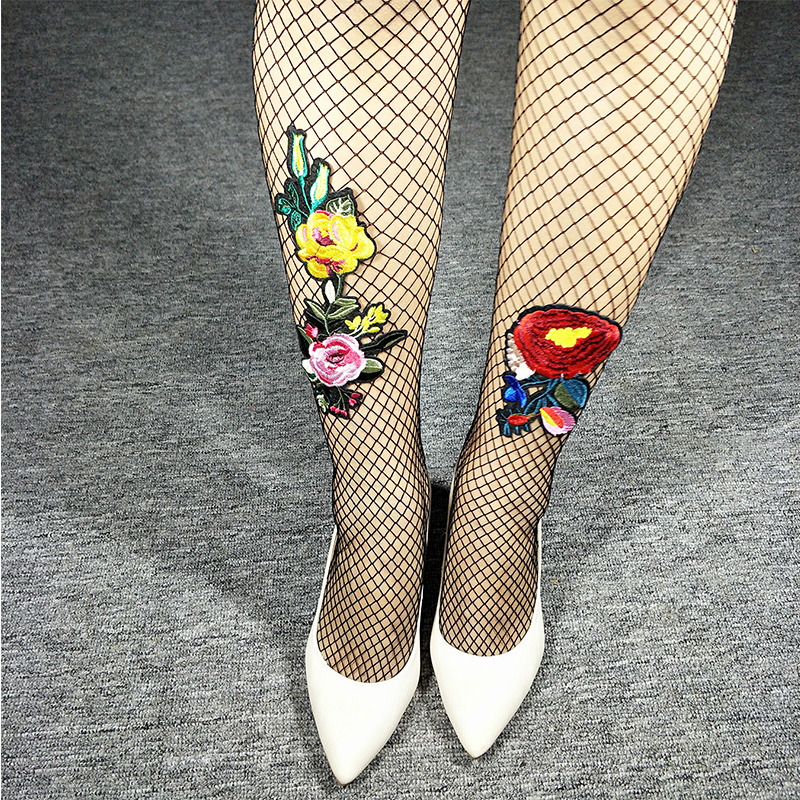 Fashion Hollow Black Embroidered Big Mesh Pantyhose Women Transparency Erotic Lolita Fish Net Tights Sexy Long Fishnet Stocking