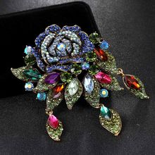 Big Size Colorful Flower Spille Bouquet Per Le Donne di Nozze Accessorio Perfetto Strass Sciarpe Nuziale Pins Hijab Pins(China)