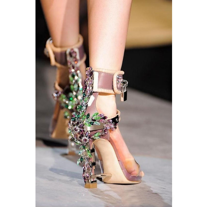 Summer Luxury Strange Heel Crystal Designer Shoes Woman PVC High Heel Sandals 2017 Padlock Ankle Strap Rhinestone Sandals