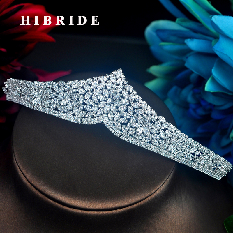 HIBRIDE Unique Design Bridesmaid Bride Crown Tiara Queen Pageant Tiaras Fashion Wedding Party Jewelry Wholesale C