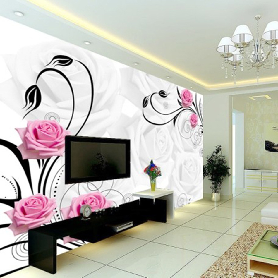 Flying rose dancing classical wallpaper mural rolls for for Cafe wall mural