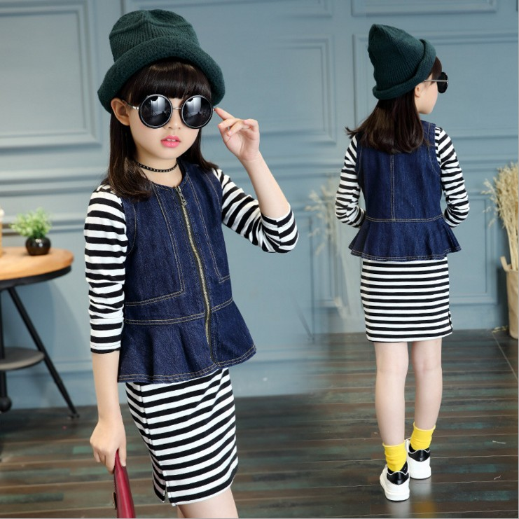 2018 Girls Clothes Sets Autumn Kids 2 pcs Denim Jackets + Striped Dress Teenage Girls Children Clothing Suits 8 9 10 11 12 13 14