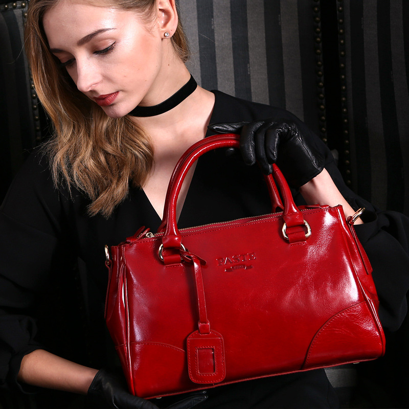 Luxury Brand Genuine Leather Handbag Oil Wax Cowhide big capacity Tote Bag Women Shoulder Crossbody Messenger Bags calidad bolso [whorse] brand luxury fashion designer genuine leather bucket bag women real cowhide handbag messenger bags casual tote w07190