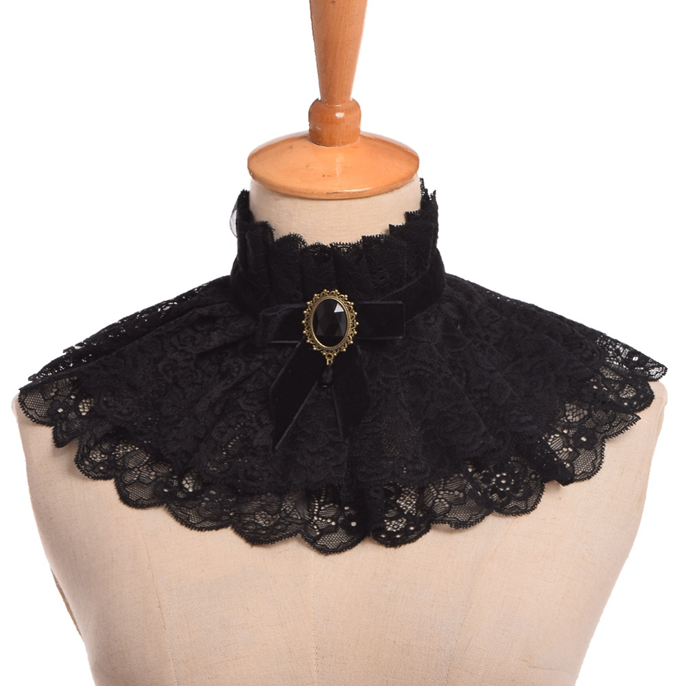 Lolita Neck Collar Gothic Punk Neck Ruff Lace Ribbon Charm Cosplay Props