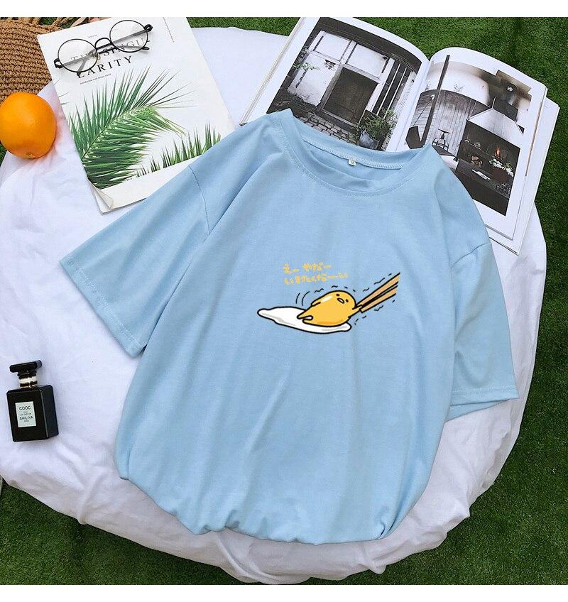 New T Shirt Women Kawaii Cartoon Gudetama Print Tops Tee Harajuku Summer Short Sleeve Casual Loose Korean Clothes Camiseta Mujer (9)