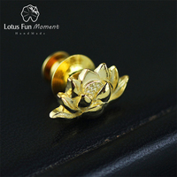 Lotus Fun Moment Real 925 Sterling Silver Designer Handmade Fashion Jewelry Vintage Lotus Flower Women Brooches Broche Pin Badge