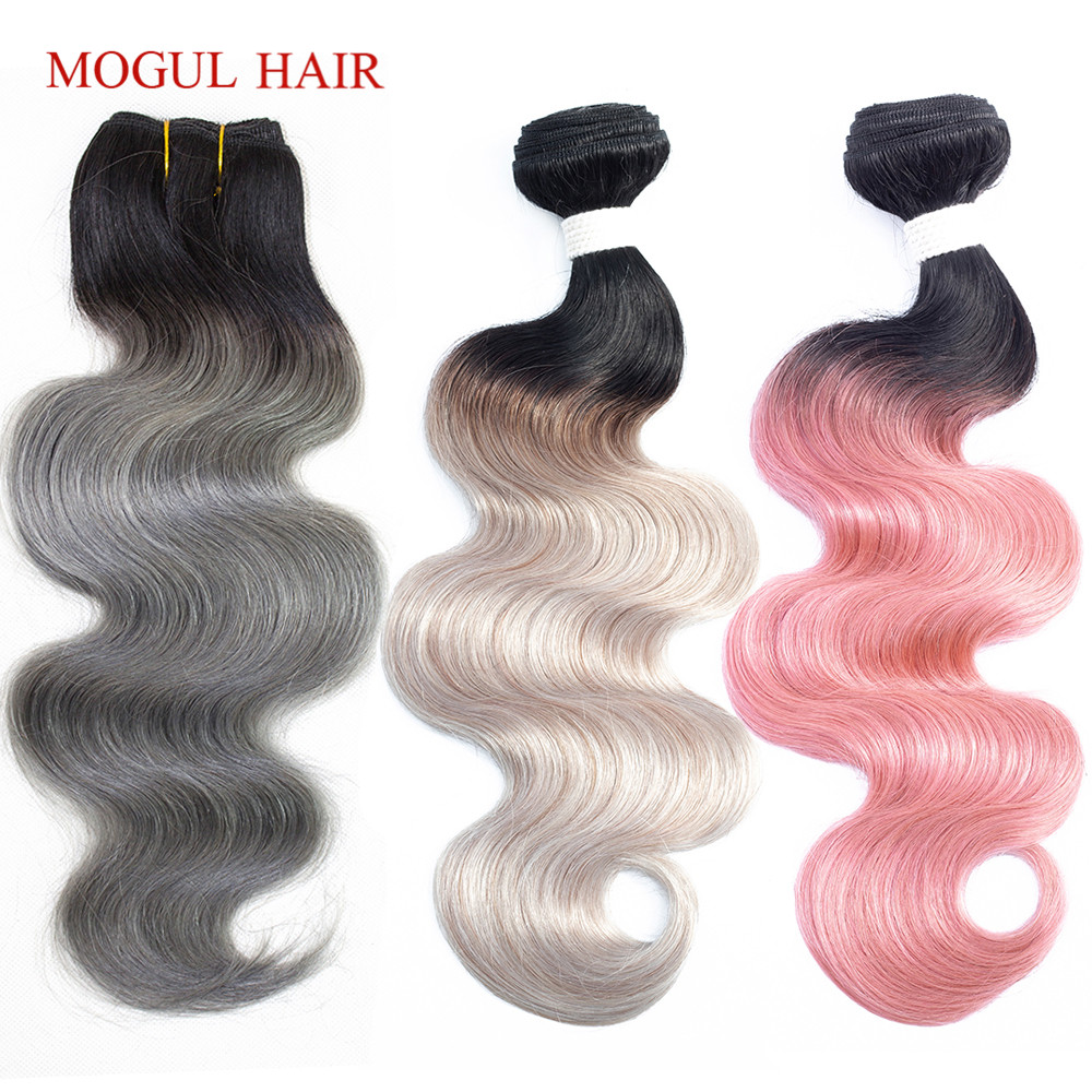MOGUL HAIR 1 Piece Only T 1B Dark Grey Body Wave Hair Extensions Ombre Brazilian Remy Human Hair Weave Bundles 10-18 inch