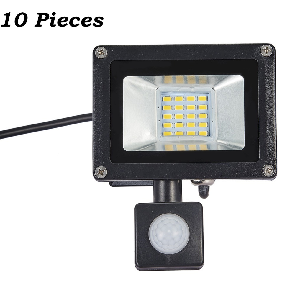10 Pcs 20W PIR Motion Sensor LED Flood Light 220-240V 20 LED SMD 5730 2200LM Reflector LED Lamp Floodlight For Outdoor Lighting