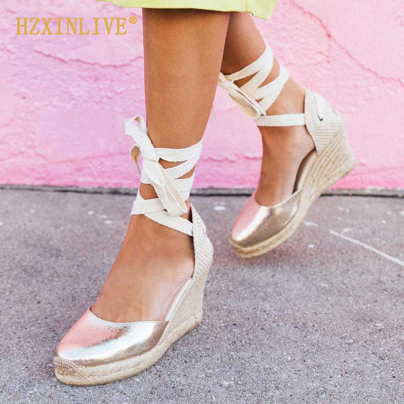 438fa866489 HZXINLIVE Stripe Canvas Wedge Platform Sandals Ankle Strap ...