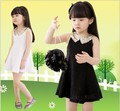 2016 Summer girl dress princess With Paillette Collar 5pcs/lot Dress cotton Lace Children Colthes For Kids Baby white/black