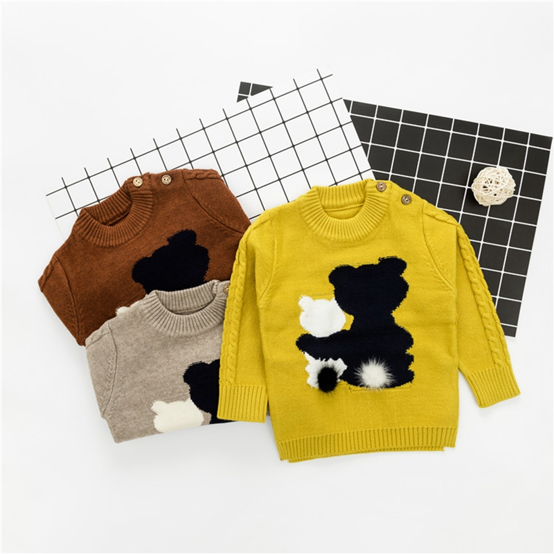 Autumn Winter Kids Clothes Infant Baby 3D Cute Bear Long Sleeve O Neck Knitwear Sweater Boys Casual Pullover Jumpers