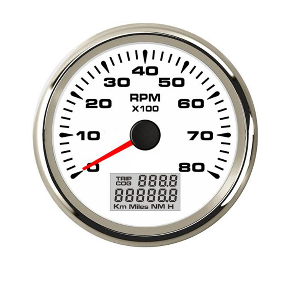 85mm Digital Car Boat Tachometer 3000 8000 RPM Tachometer Gauge 7 Color Backlight with LCD Hourmeter