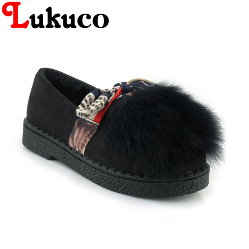 2018 plus size 42 43 44 45 Lukuco LADY SHOES round toe women flats cute fur design high quality WARM WINTER shoes FREE SHIPPING