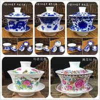 2019 Hot Sale 200ml Chinese Hand Painted Tea Set Tureen Dehua High Quality White Porcelain Gaiwan Tea Porcelain Pot Set