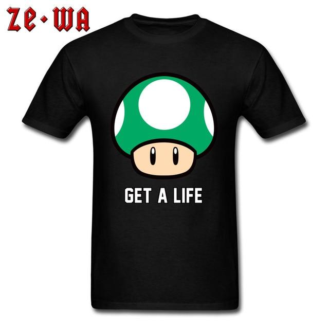1ea65f80 Get a Life T Shirt Super Mario Tshirt Men Green Mushroom T-shirts Cartoon  Tees Gamer Cotton Tops Boyfriend Gift Clothes Unique