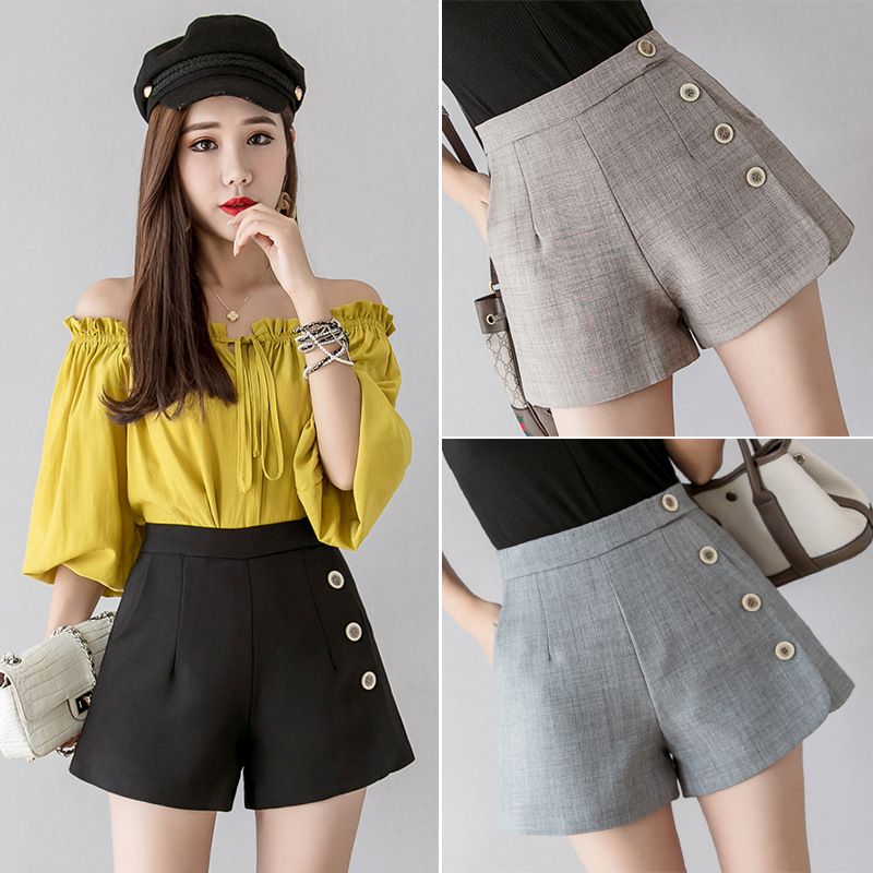 Summer New Shorts Womens High Waist Loose A-Line Wide-Leg Shorts Button Design Back Zipper Casual Female Chic Office Wear Shorts