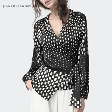 Women' Black-White Plaid Shirt Soft Woven Printed Top Crossed V Neck With Belt Tie Up Long Sleeve Blouse Sexy Slim Office Shirts